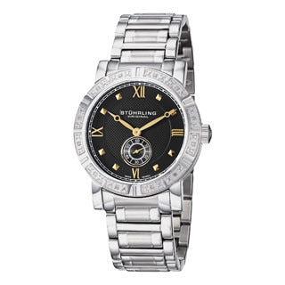 Stuhrling Original Men's Swiss Quartz Black-Dial Diamond Bracelet Watch