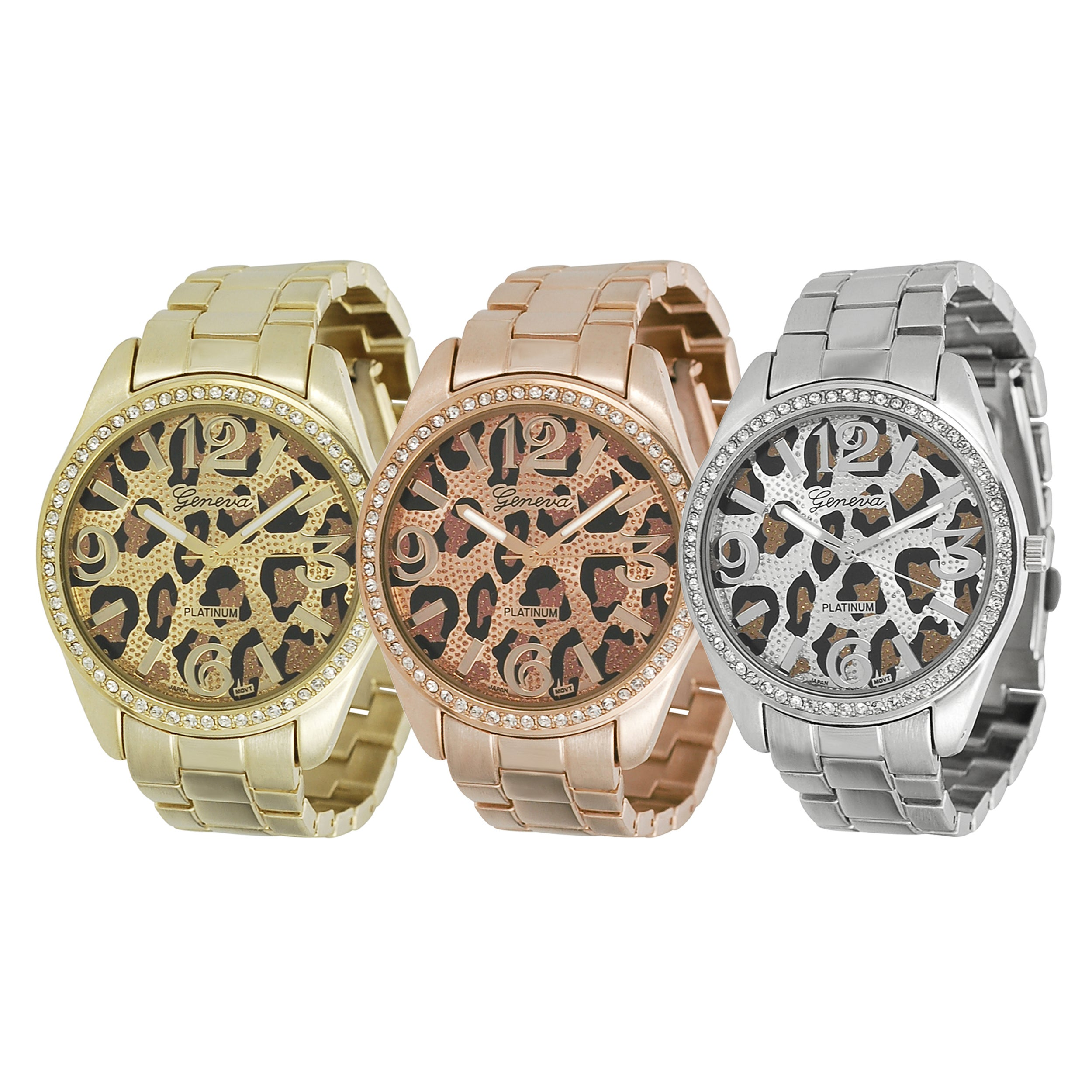 Geneva Platinum Women's Rhinestone Cheetah Print Link Watch