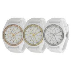 Geneva Platinum Women's Rhinestone Japanese Quartz Chronograph Silicone Watch
