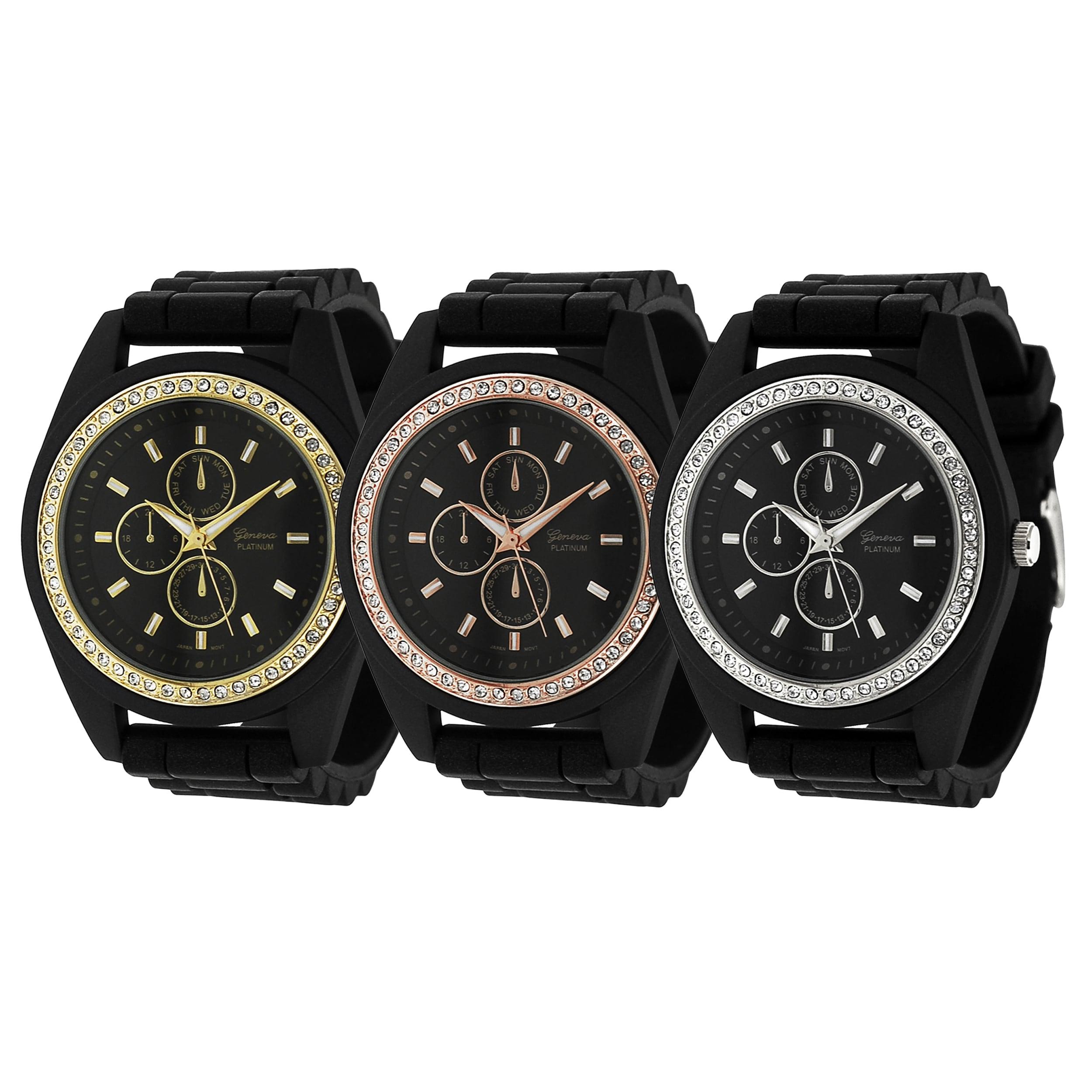 Geneva Platinum Women's Rhinestone Chronograph Silicone Watch