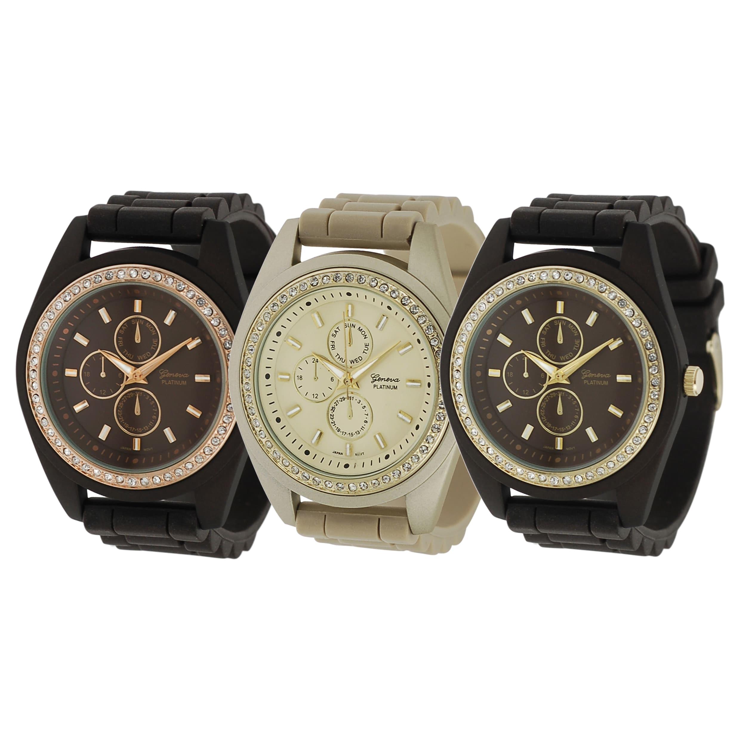 Geneva Platinum Women's Rhinestone Chronograph Quartz Silicone Watch