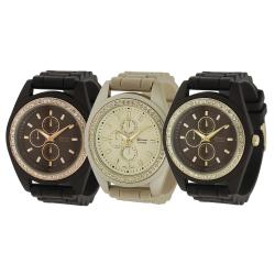 Geneva Platinum Women's Rhinestone Chronograph Quartz Silicone Watch