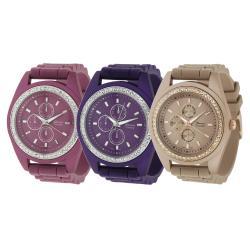 Geneva Platinum Women's Rhinestone Chronograph Silicone Strap Watch