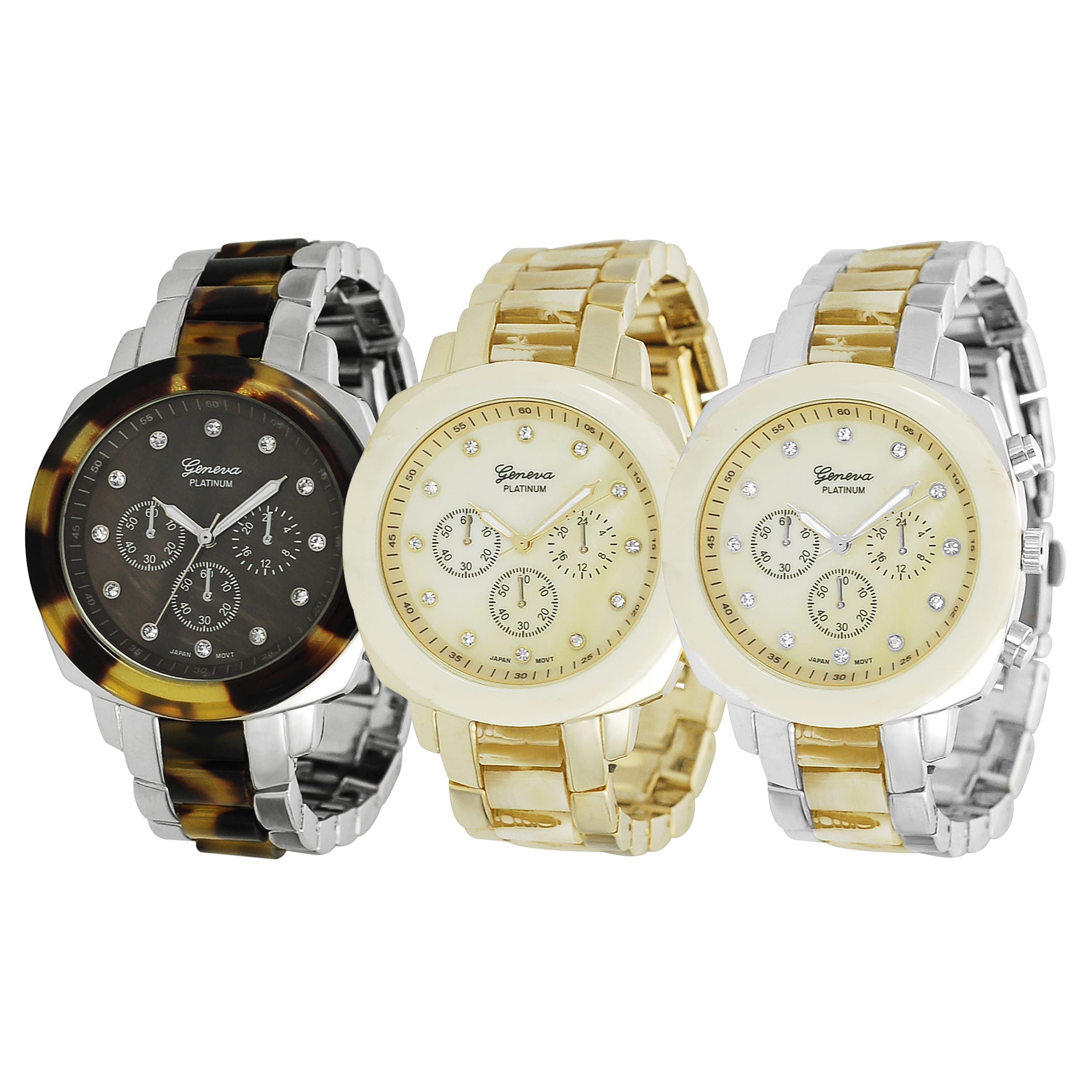Geneva Platinum Women's Rhinestone Chronograph Link Watch