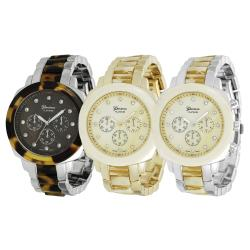 Geneva Platinum Women's Rhinestone Chronograph Link Watch
