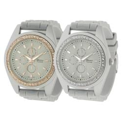 Geneva Platinum Women's Rhinestone Stainless-Steel Chronograph Silicone Watch