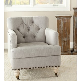 Safavieh Manchester Light Grey Brass Nailhead Club Chair