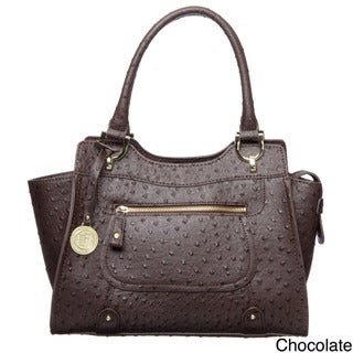 London Fog Ostrich Embossed Satchel Bag