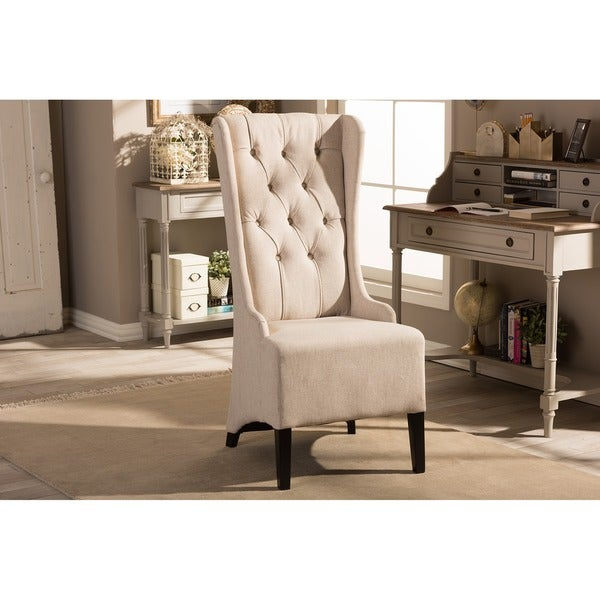 Baxton Studio Vincent Beige Linen Modern Accent Chair