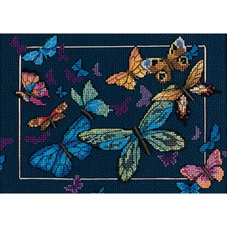 "Gold Collection Petite Exotic Butterflies Counted Cross Stit-7""X5"""