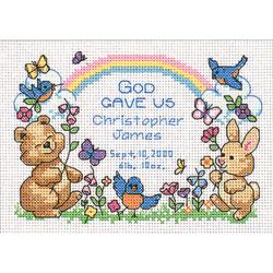 "God's Babies Birth Record Mini Counted Cross Stitch Kit-7""X5"""