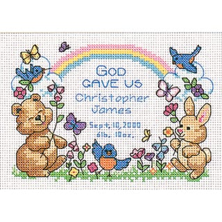 """God's Babies Birth Record Mini Counted Cross Stitch Kit-7""""X5"""""""