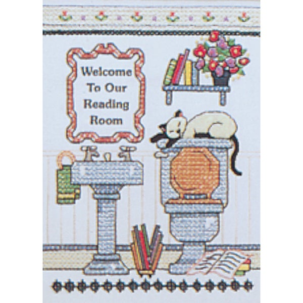 "Reading Room Welcome Mini Stamped Cross Stitch Kit-5""X7"" 9166441"