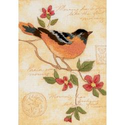 "Elegant Oriole Mini Crewel Kit-5""X7"" Stitched In Floss & Yarn"