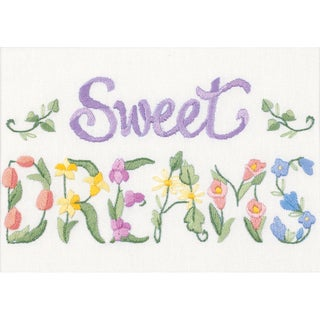 """Flowery Sweet Dreams Mini Crewel Kit-7""""X5"""" Stitched In Floss"""