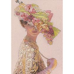 "Genteel Lady Mini Crewel Kit-5""X7"" Stitched In Wool & Thread"