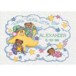 "Twinkle Twinkle Birth Record Counted Cross Stitch Kit-14""X10"" 14 Count"