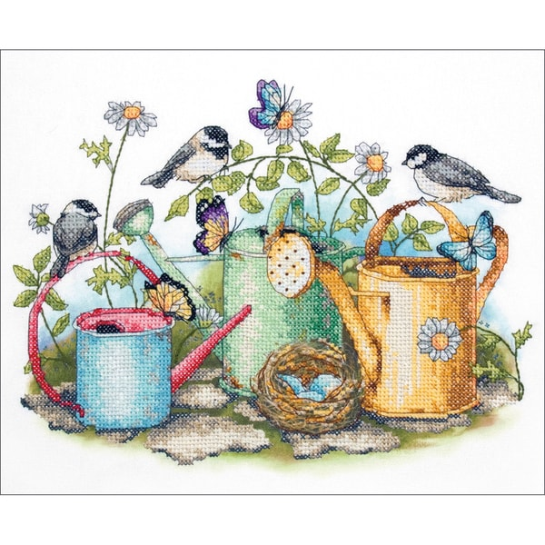 "Watering Cans Stamped Cross Stitch Kit-14""X11"" 9166461"