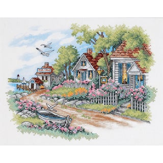 "Cottages By The Sea Stamped Cross Stitch Kit-14""X11"""