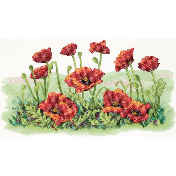 "Field Of Poppies Stamped Cross Stitch Kit-16""X10"" 9166466"
