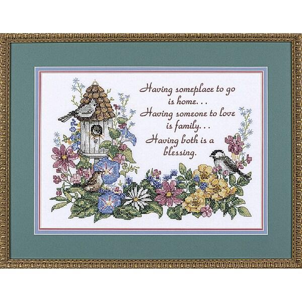 "Flowery Verse Stamped Cross Stitch Kit-14""X10"""