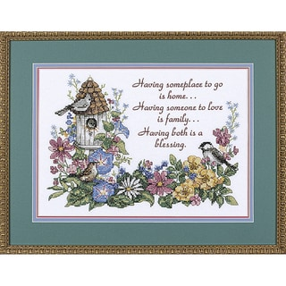 "Flowery Verse Stamped Cross Stitch Kit-14""X10"""