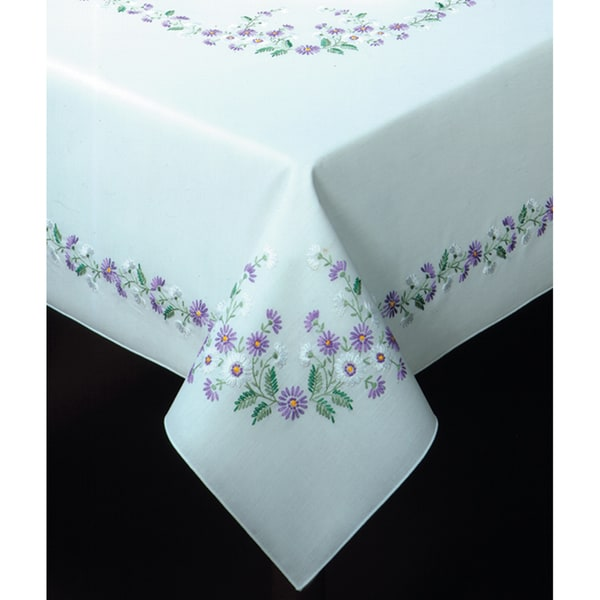 """Rhapsody Stamped Oblong Tablecloth For Embroidery-58""""X86"""""""