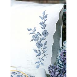 Blue Elegance Stamped 20-inch x 30-inch Pillowcases for Embroidery (Set of 2)
