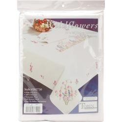 """Wildflowers Stamped Oblong Tablecloth For Embroidery-50""""X70"""""""