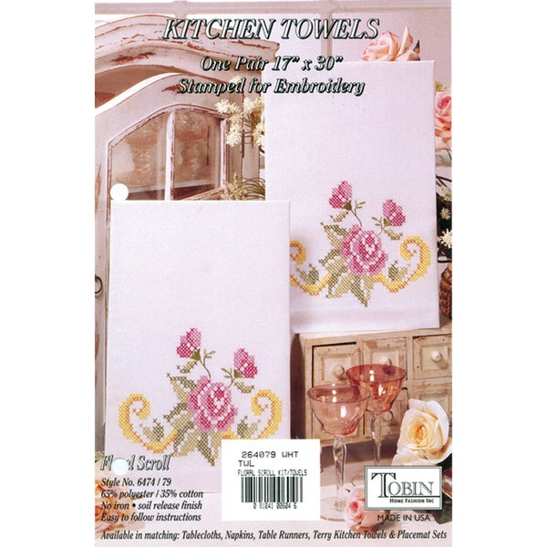 Stamped Kitchen Towels For Embroidery-Floral Scroll