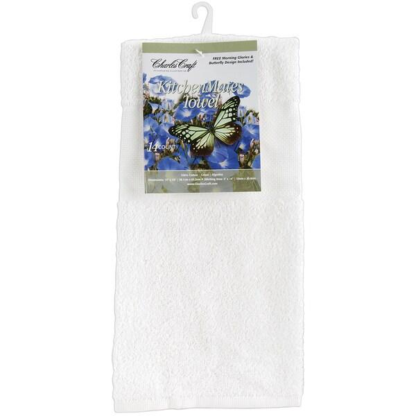 """Kitchen Mates Hemmed Towel 15""""X25""""-White/White"""
