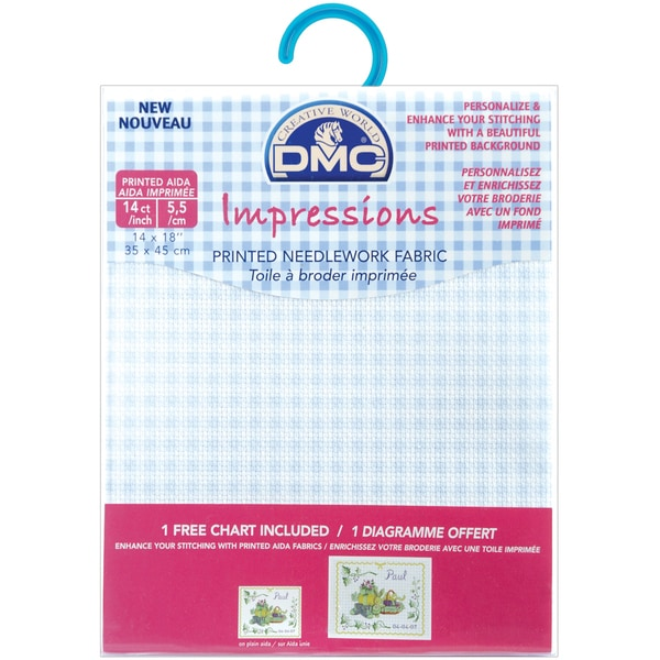 "Impressions Aida Needlework Fabric 14 Count 14""X18""-White W/Baby Blue Gingham"