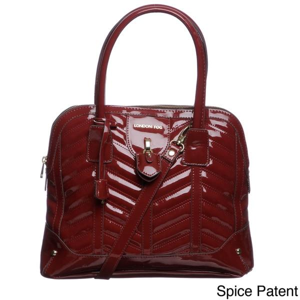 London Fog Lark Patent Dome Satchel Bag
