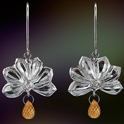 Ashanti 'Olu' Sterling Silver & Citrine Briolette Dangle Earrings (Sri Lanka)