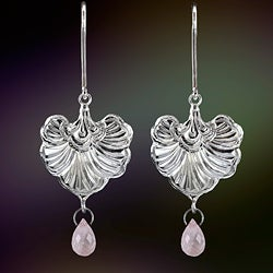 Ashanti Sterling Silver and Rose Quartz Briolette Heart Dangle Earrings (Sri Lanka)