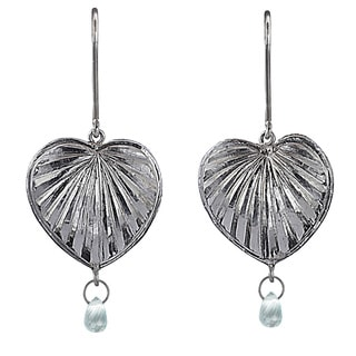 Ashanti Sterling Silver and Aquamarine Briolette Heart Dangle Earrings (Sri Lanka)