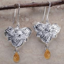 Ashanti Sterling Silver & Citrine Briolette Dangle Earrings (Sri Lanka)