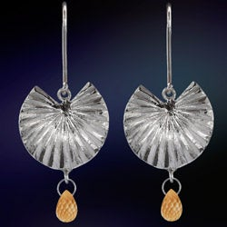 Ashanti 'Thal Kola' Sterling Silver & Citrine Briolette Dangle Earrings (Sri Lanka)