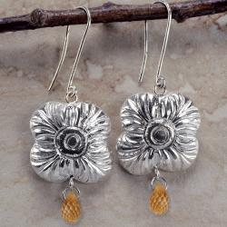 Ashanti 'Na' Flower Sterling Silver & Citrine Briolette Dangle Earrings (Sri Lanka)