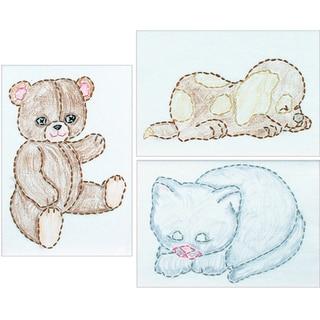"""White Stamped Beginner Embroidery Kit 6""""X8"""" Samplers 3/Pkg-Huggable Animals"""
