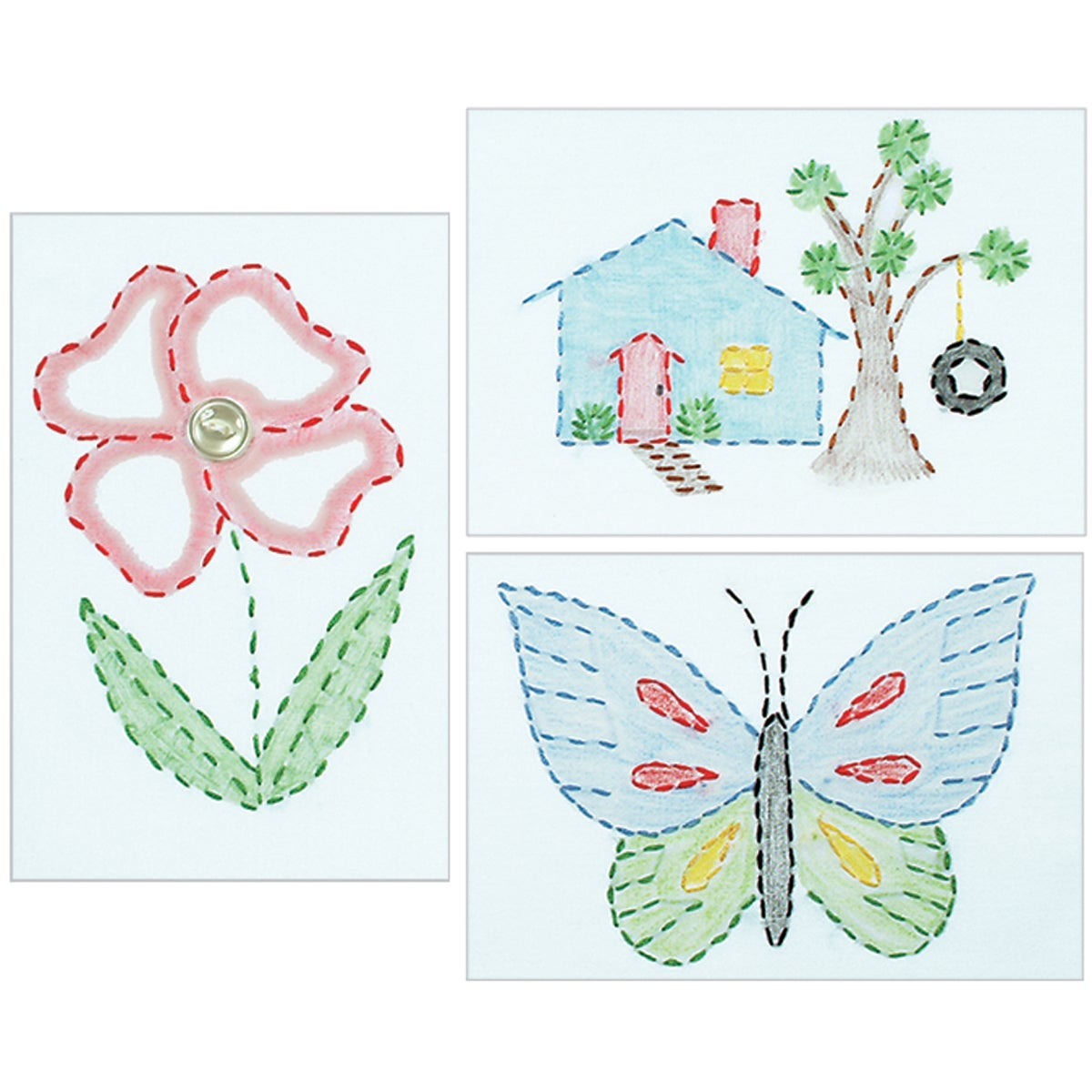 White Stamped Beginner Embroidery Kit 6quotX8quot Samplers 3Pkg