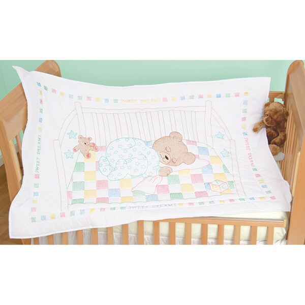 "Stamped White Quilt Crib Top 40""X60""-Snuggly Teddy"
