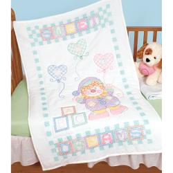 "Stamped White Quilt Crib Top 40""X60""-Sweet Dreams"