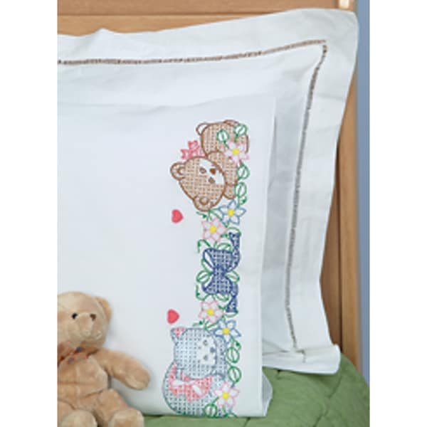 Children's Stamped Pillowcase With White Perle Edge 1/Pkg-Now I Lay Me Down To Sleep