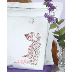 Stamped Pillowcases With White Perle Edge 2/Pkg-Kitten
