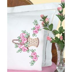 Stamped Pillowcases With White Perle Edge 2/Pkg-Basket Of Flowers