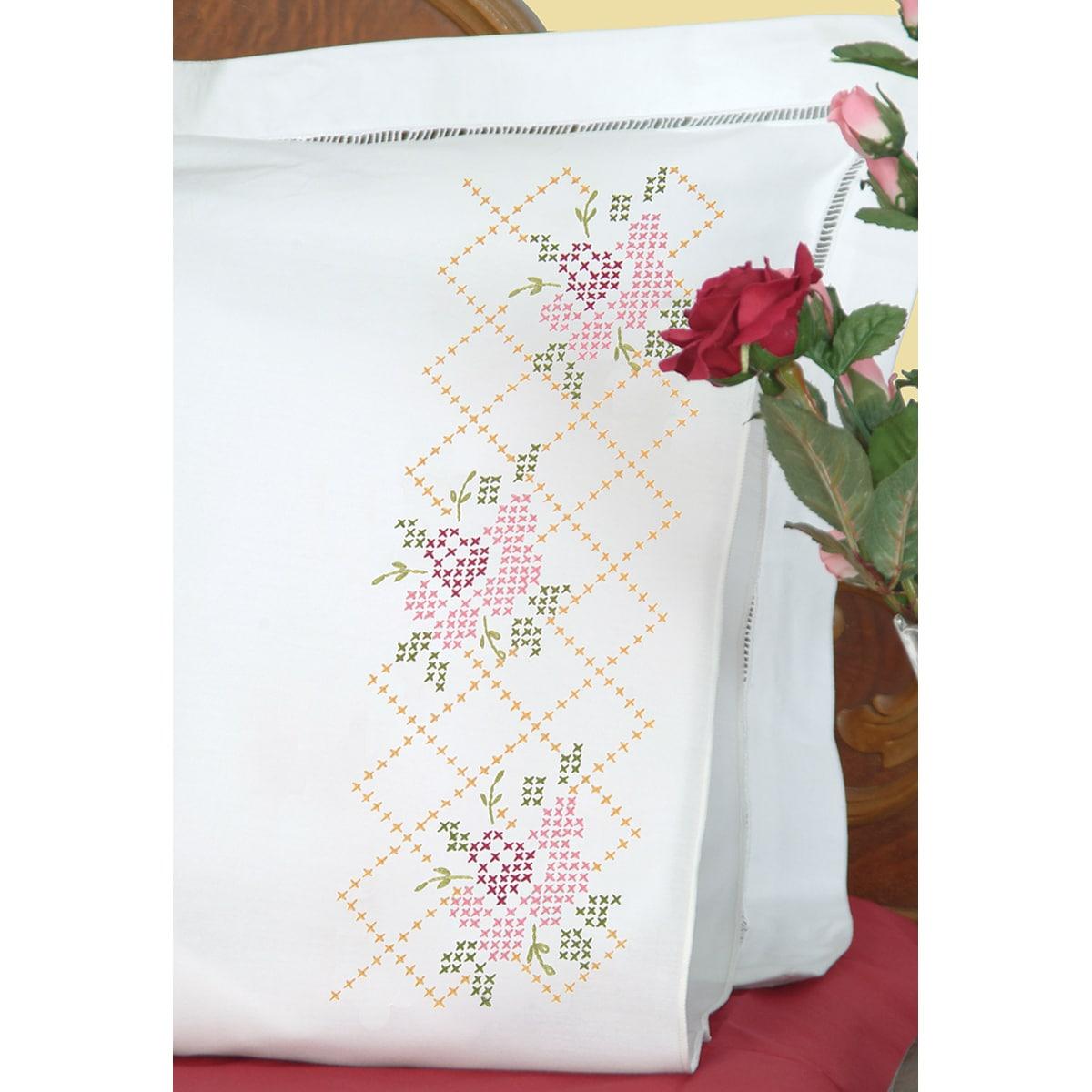 Stamped Pillowcases With White Perle Edge 2/Pkg-Rose Lattice