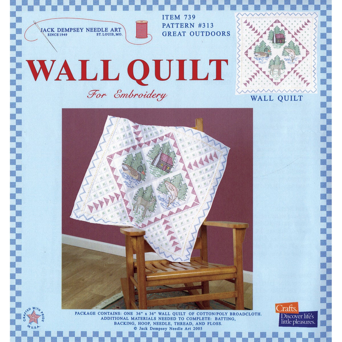 """Stamped White Wall Or Lap Quilt 36""""X36""""-Great Outdoors"""