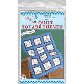 "Themed Stamped White Quilt Blocks 9""X9"" 12/Pkg-Birds"
