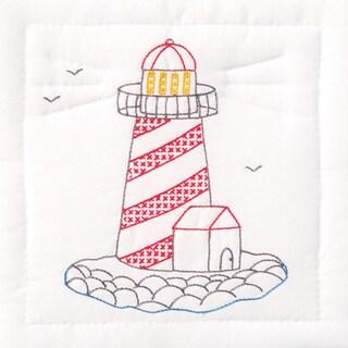 "Stamped White Quilt Blocks 9""X9"" 12/Pkg-Lighthouse"